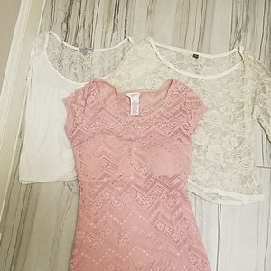 *LOT* three lacy short sleeve blouses